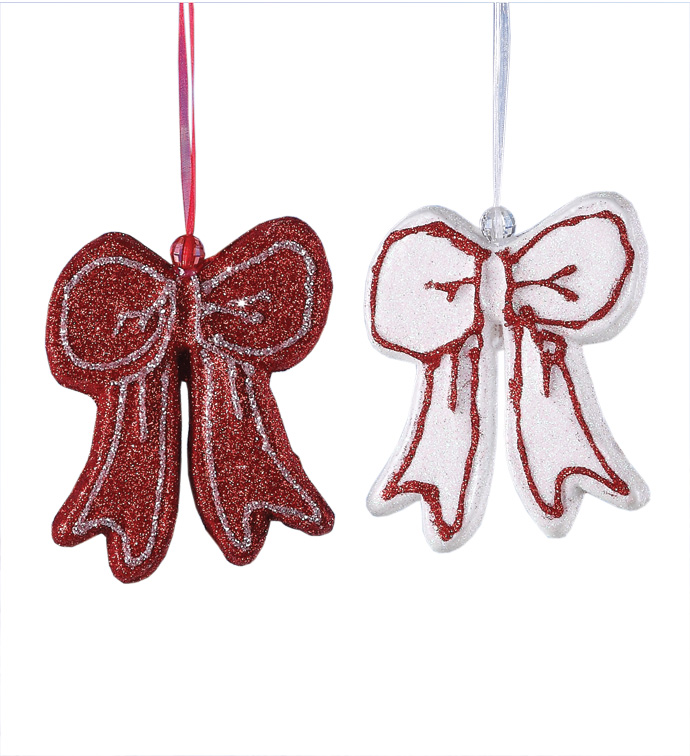 Red and White Bow Ornament