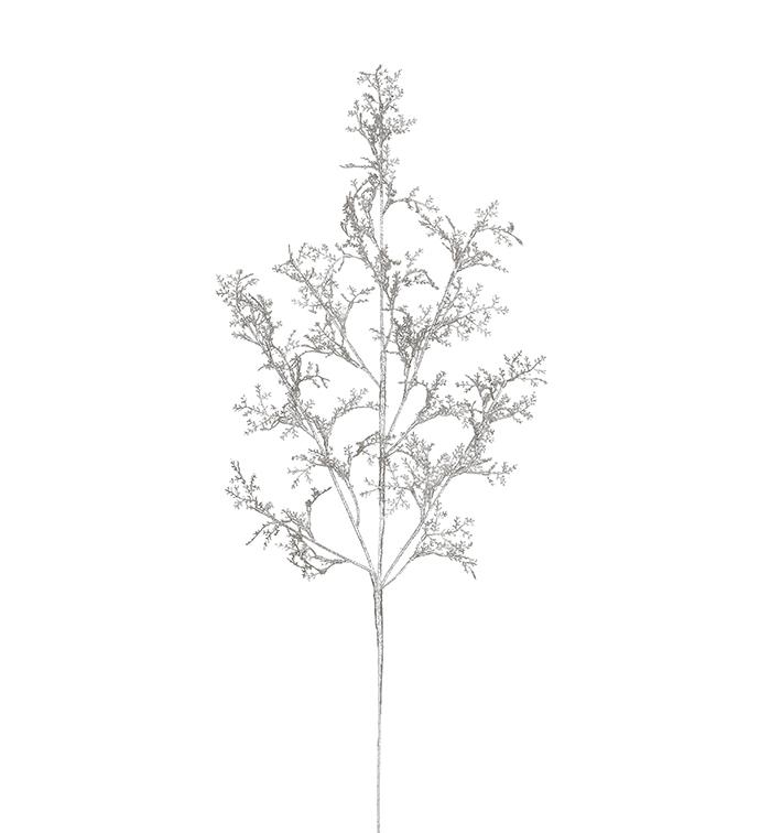 Silver Glittered Cedar Spray