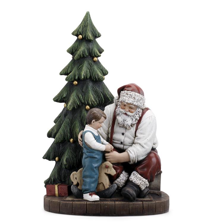 Santa and Child on Rocking Horse
