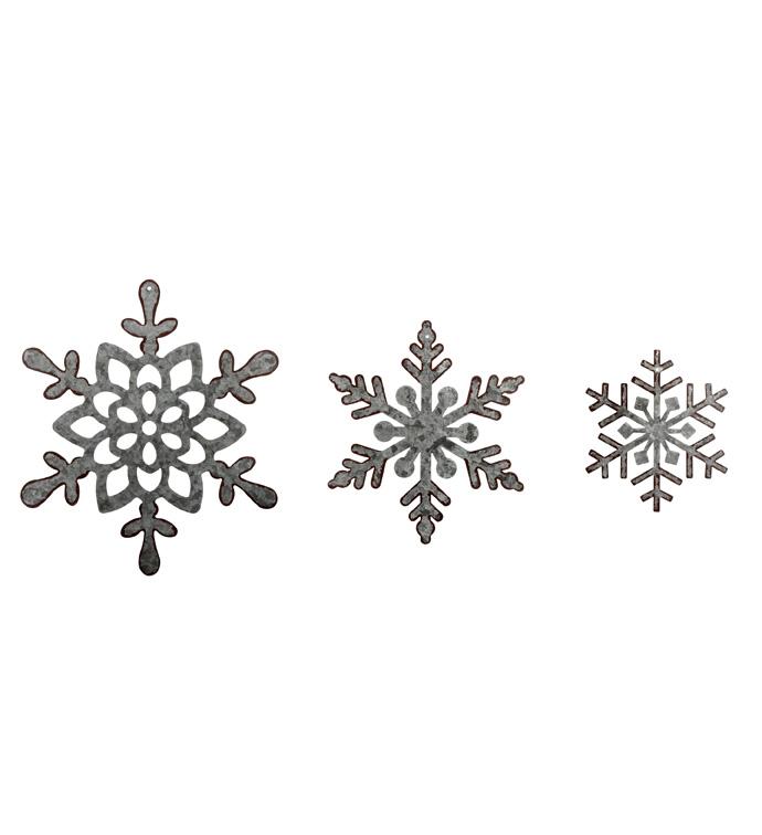 Galvinized Snowflake Ornaments, Set