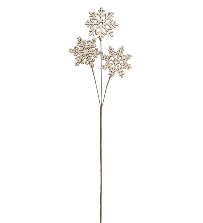 3-Snowflake Wood Pick