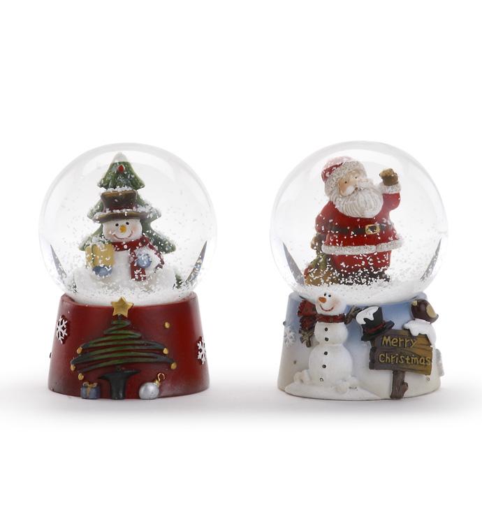 Santa/Snowman Water Globe, 2 Assort