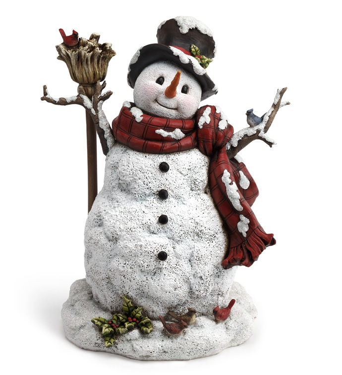 Snowman with Holly, Broom and Birds