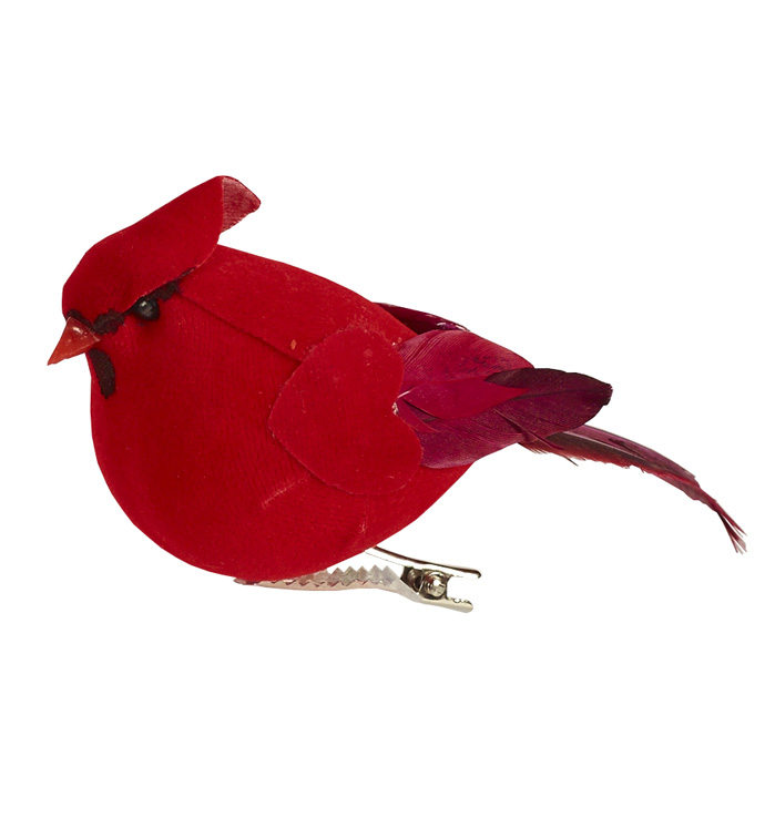 Small Cardinal Ornament with Clip,