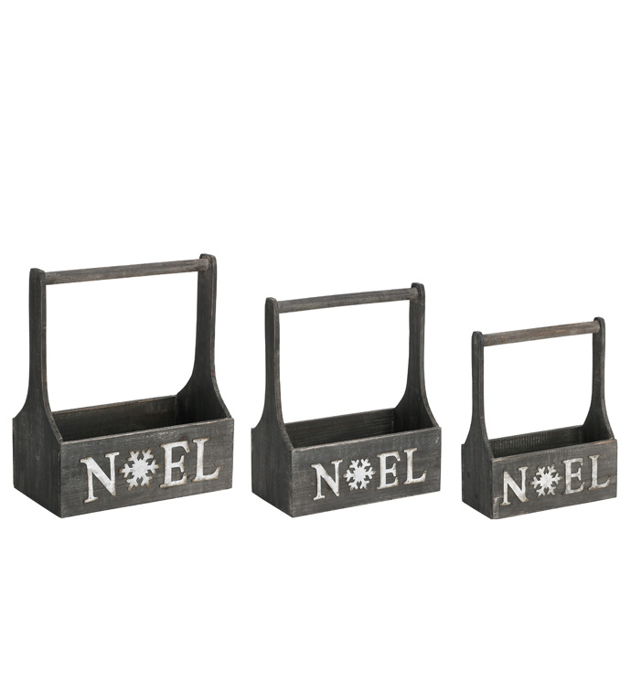 Noel Gray Rectangle Box, Set of 3