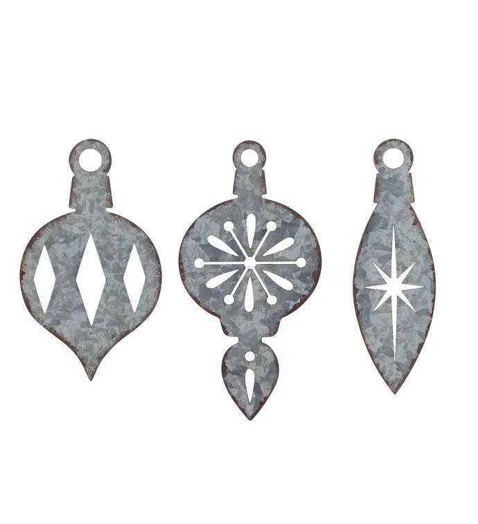 Small Galvanized Ornament, 3 Assort