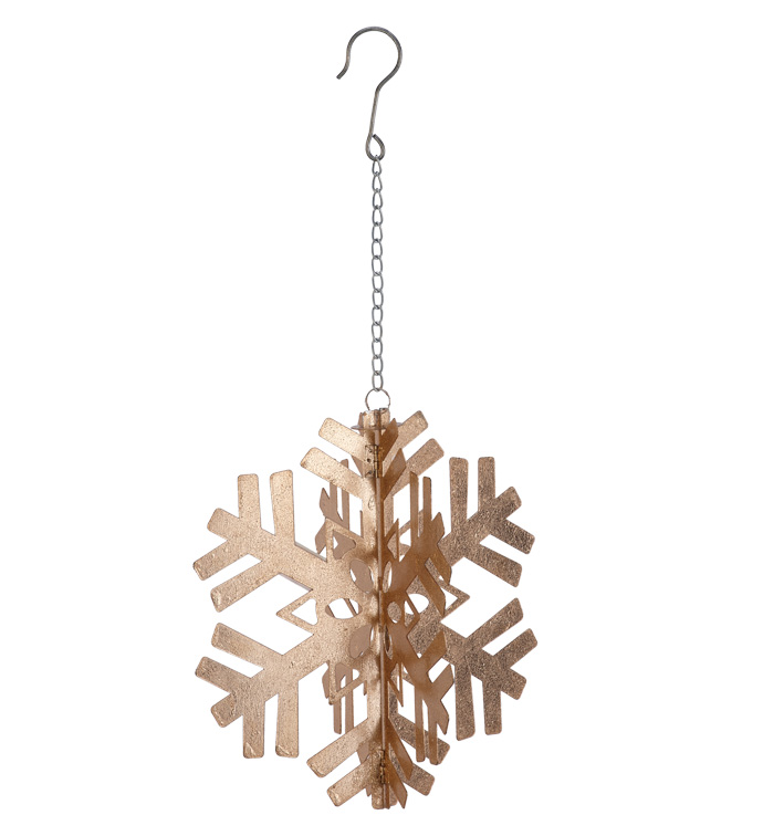 "12"" 3D Gold Snowflake Ornament"