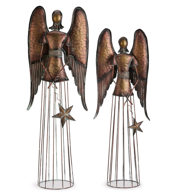 Set of 2 Bronze Angel with Star