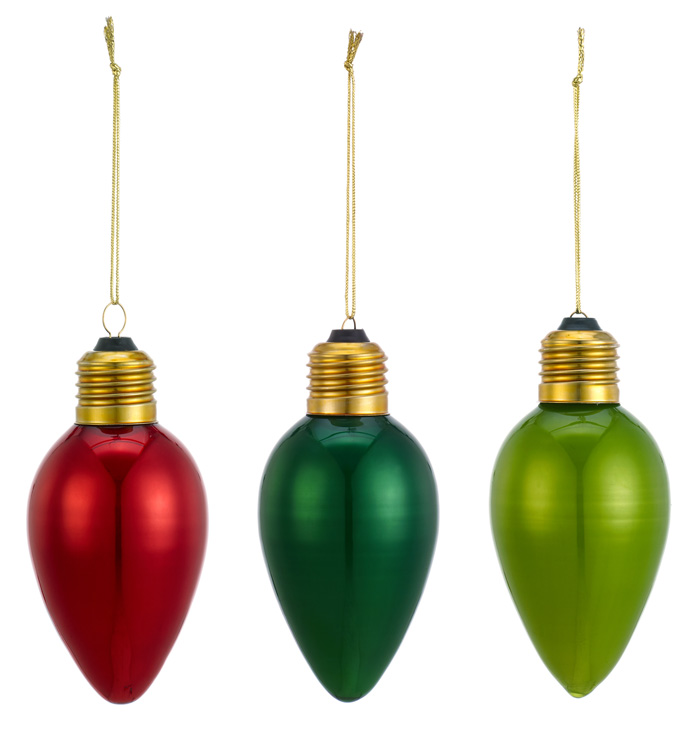 Holiday Bulb Ornament, 3 Assorted