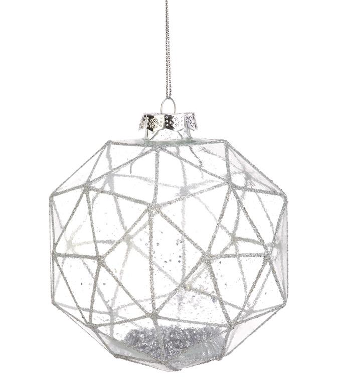 Geometric Glitter Filled Ornament