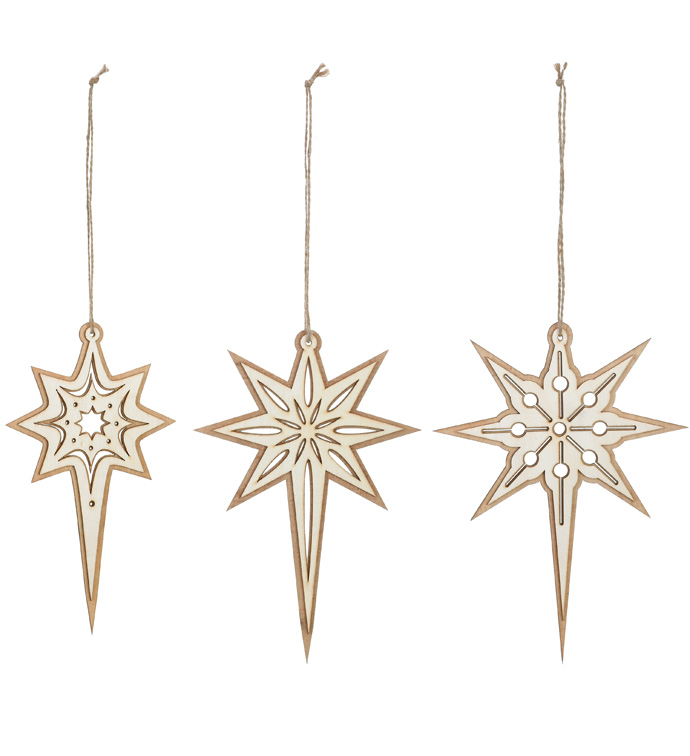 3 Assorted North Star Ornaments
