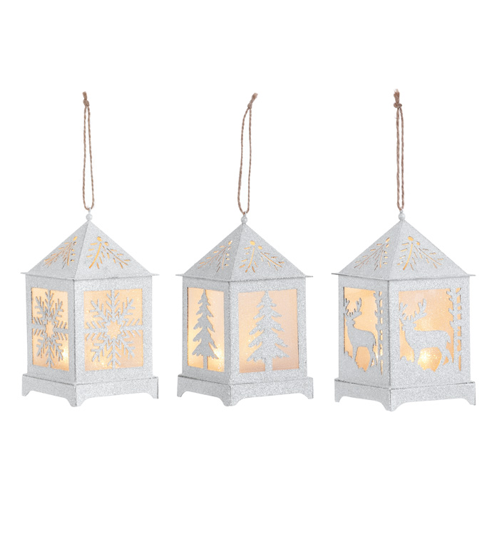 LED Glittered Lantern Ornament, 3 A