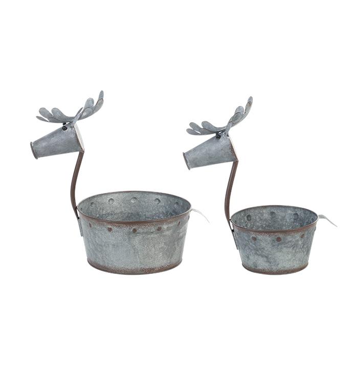 Galvanized Deer Pot Cover, Set of 2