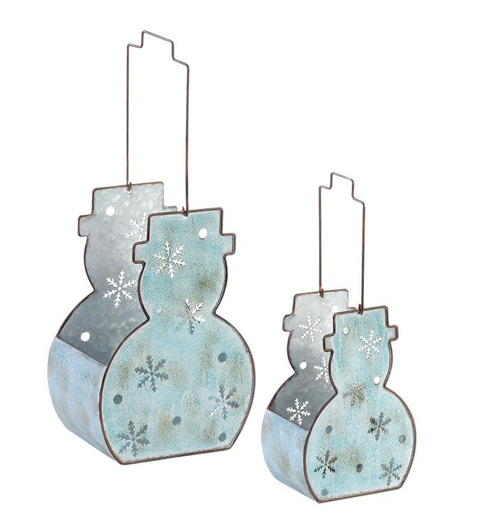Galvanized Snowman Basket, Set of 2