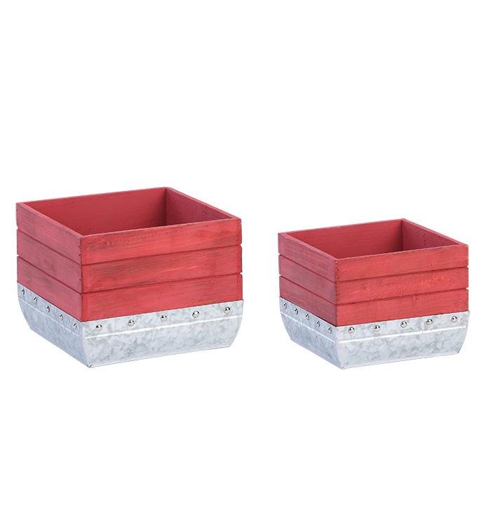 Wood and Galvanized Planter, Set of