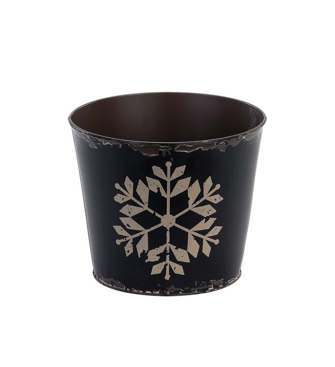 "6.5"" Black Pot Cover with Snowflake"