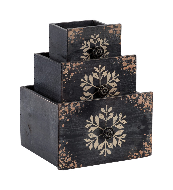 Black Drawer Planters with Snowflak