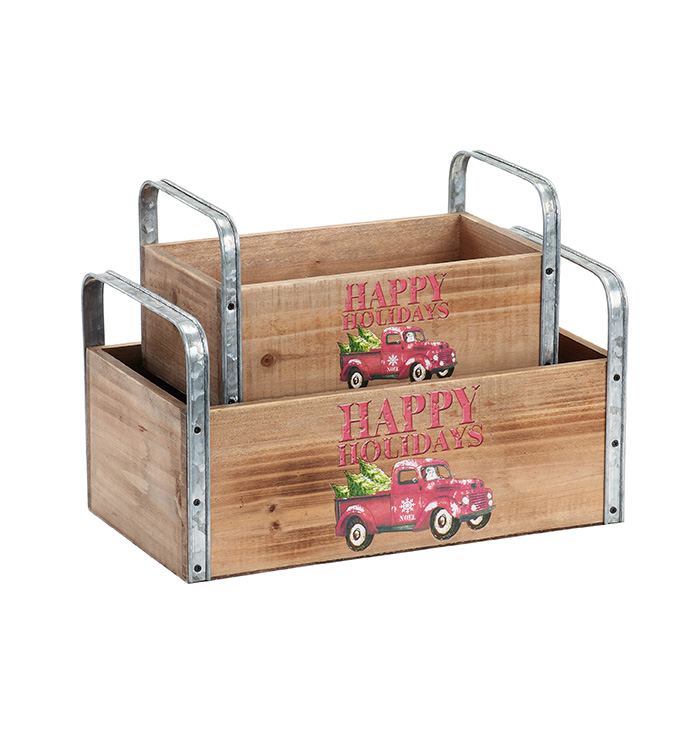 Christmas Truck Box with Handle, Se