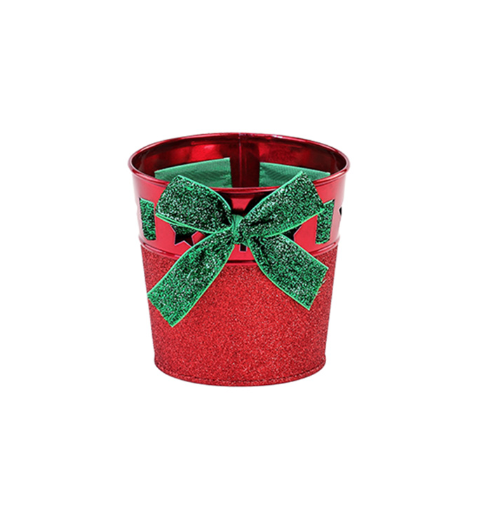 "5"" Red Glitter Pot Cover"