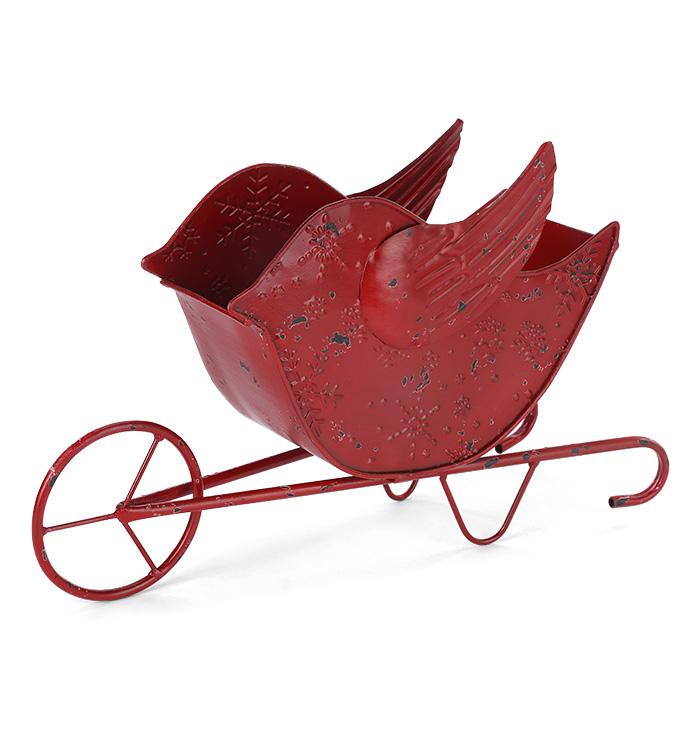 Red Bird on Wheel Barrow Planter