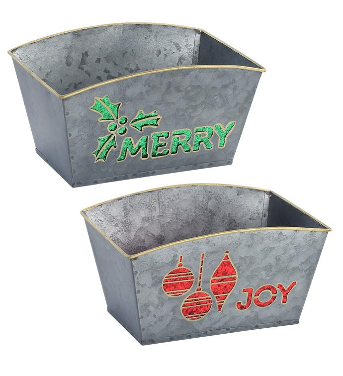 Joy/Merry Rectangle Planter, 2 Asso