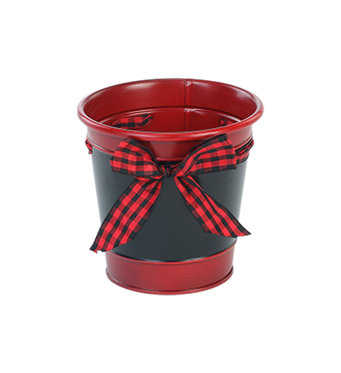 "5"" Pot Cover with Plaid Ribbon"