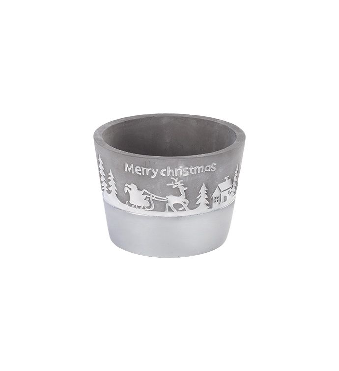 "6"" Silver Christmas Planter"