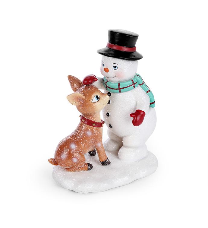 Vintage Snowman with Baby Deer