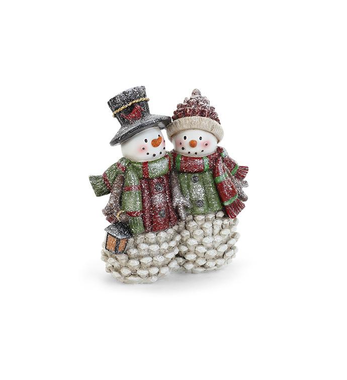 Pine Cone Snowman Couple