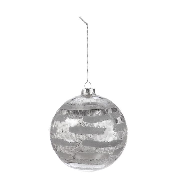 Silver Stripe Ball Ornament