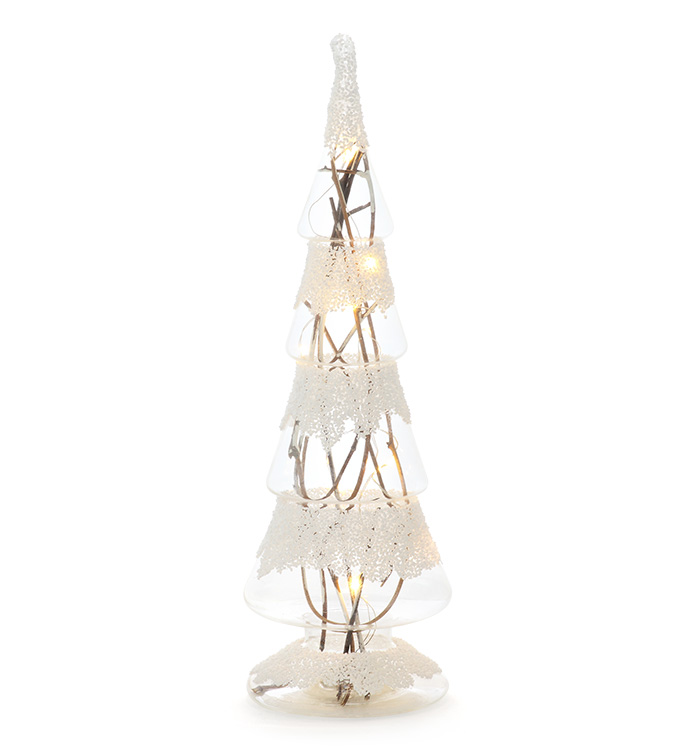 LED Glass Tree With Twigs
