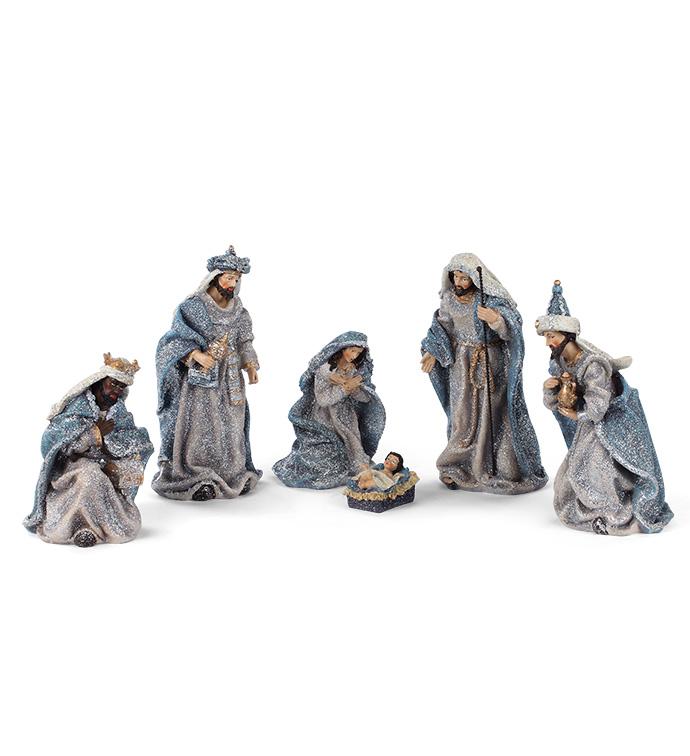 Set of 6 Vintage Blue Nativity