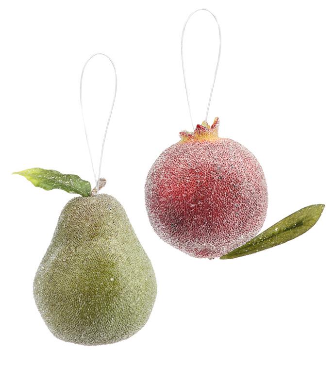 Beaded Fruit Ornament, Set of 2