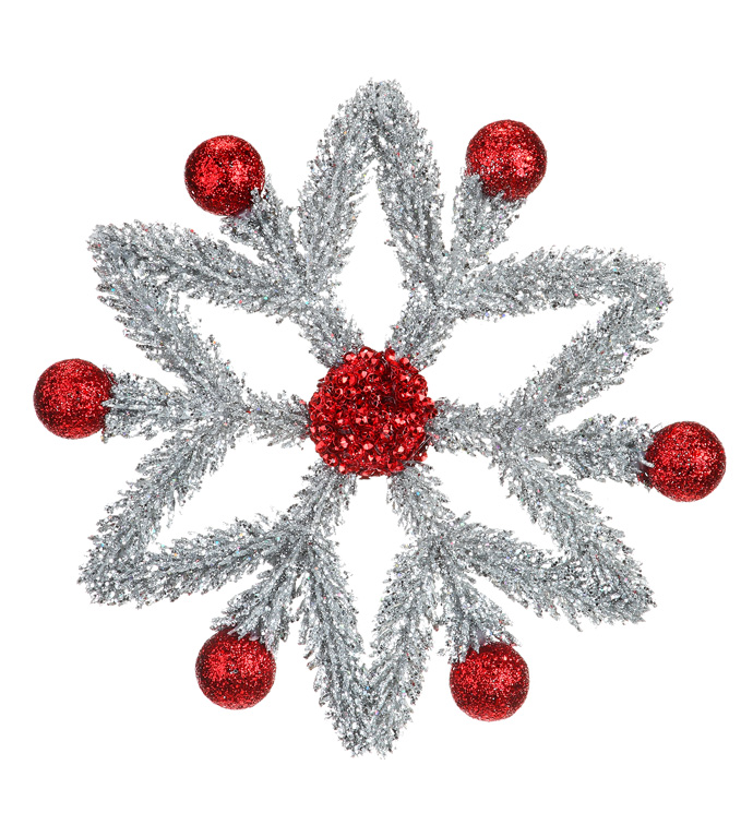 Silver/Red Snowflake Ornament