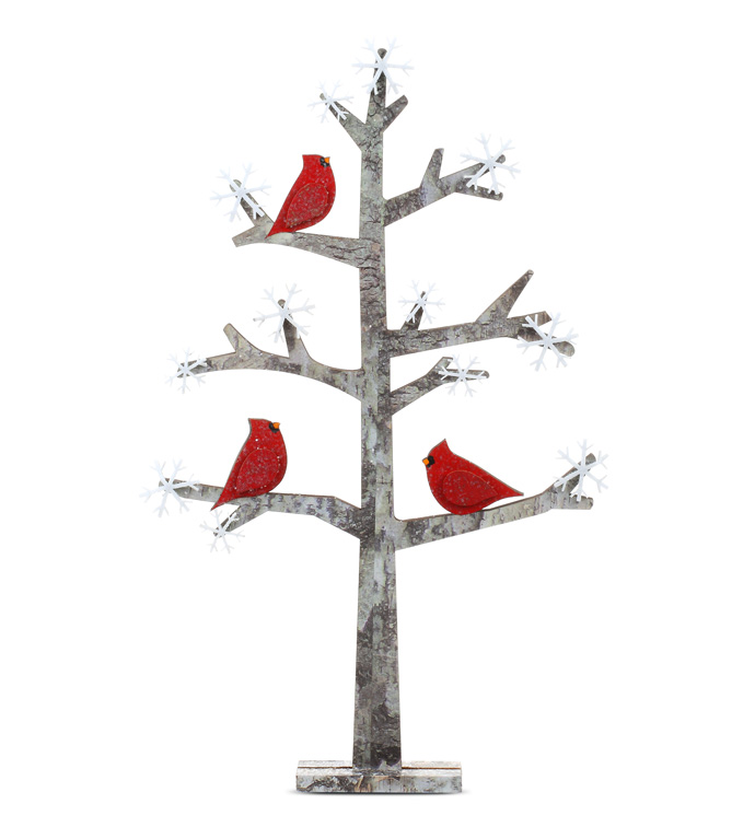 Wood Tree with Cardinals