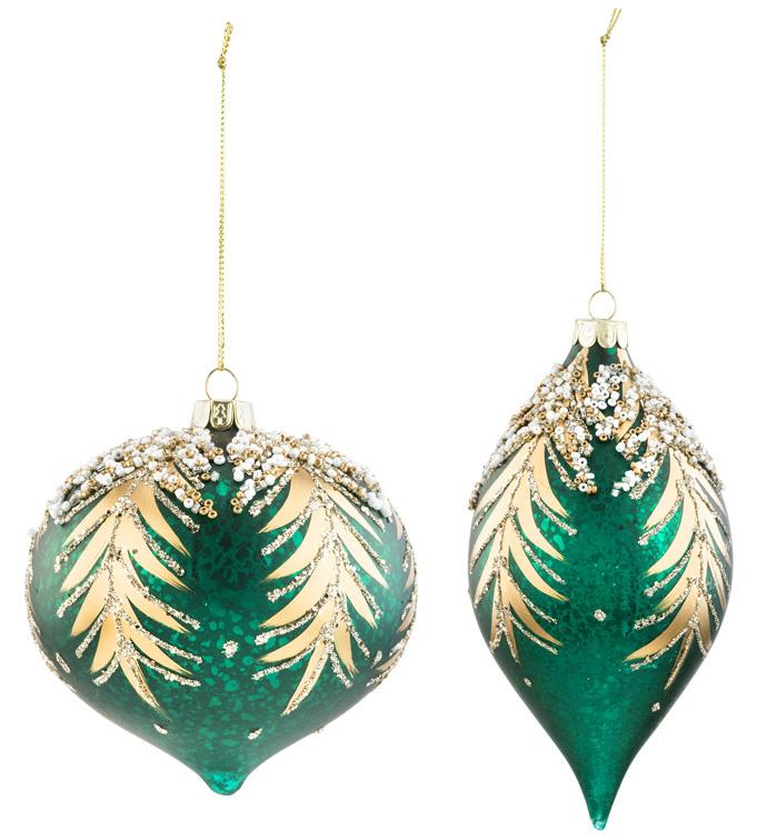 Teal Glitter Ornament, 2 Assorted