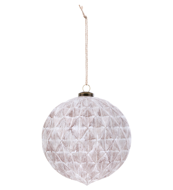 Large White Wash Brown Ornament