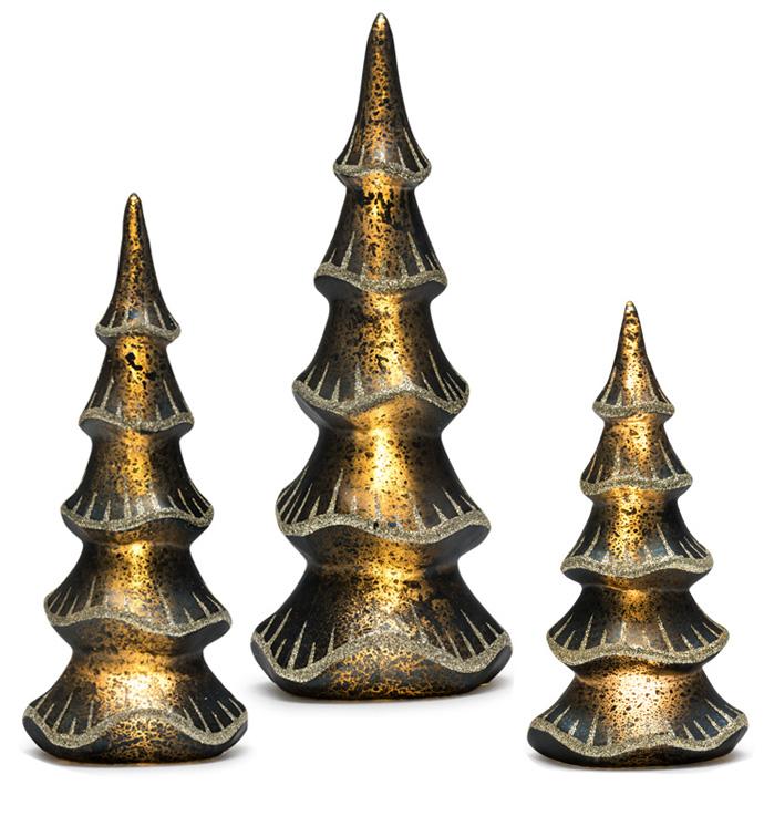 Gold Edge LED Tree, Set of 3