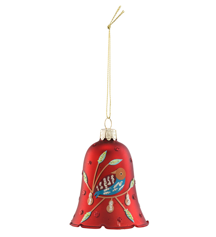Red Bell with Bird Ornament