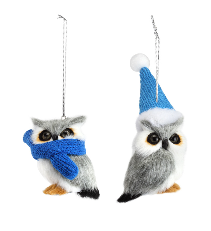 Furry Owl  Ornament, 2 Assorted