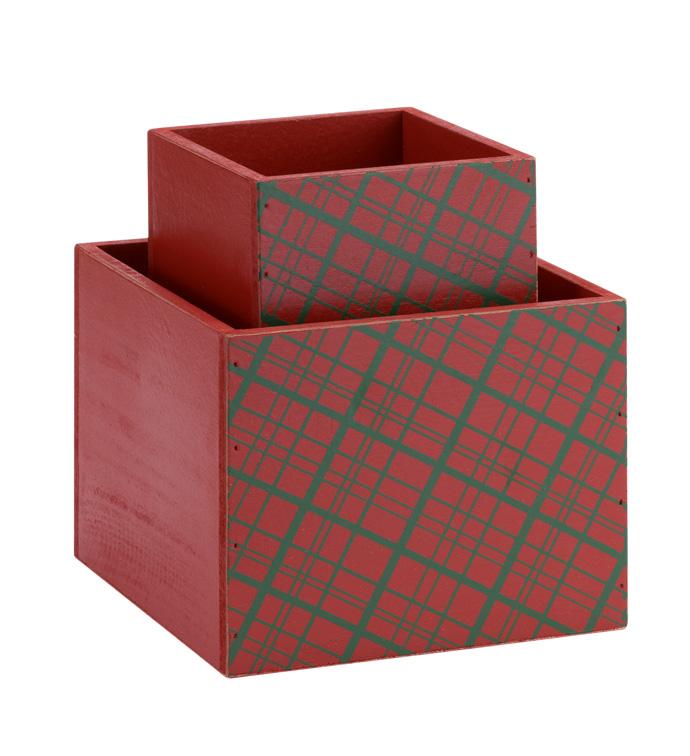 Plaid Square Box, Set of 2