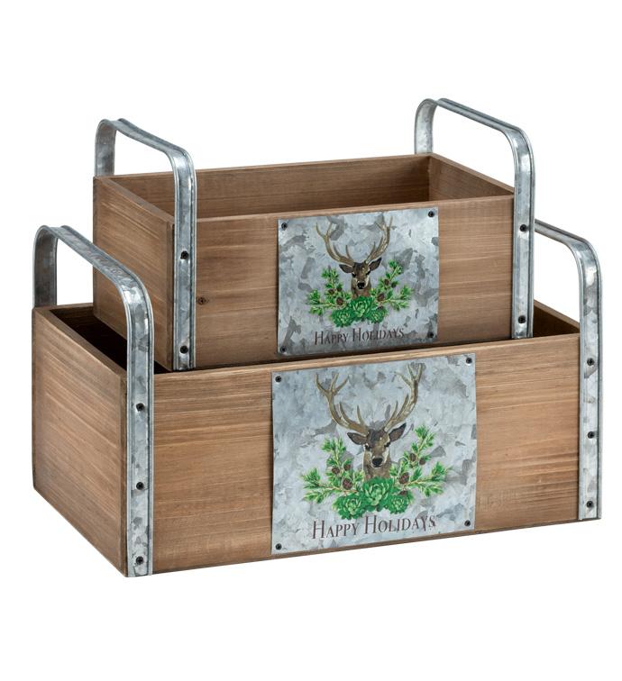 Deer Decal Planter Box, Set of 2