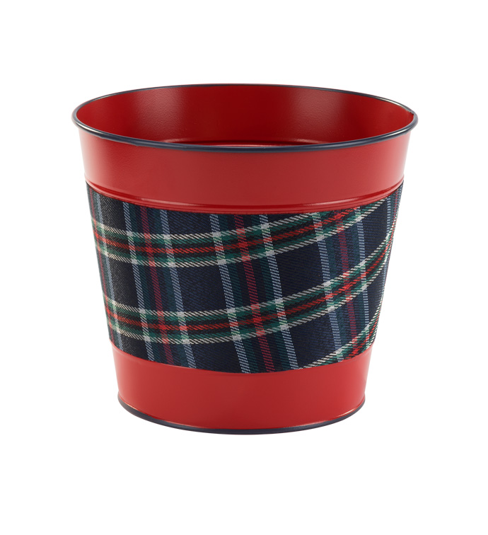 "6.5"" Red/Blue Plaid Pot Cover"