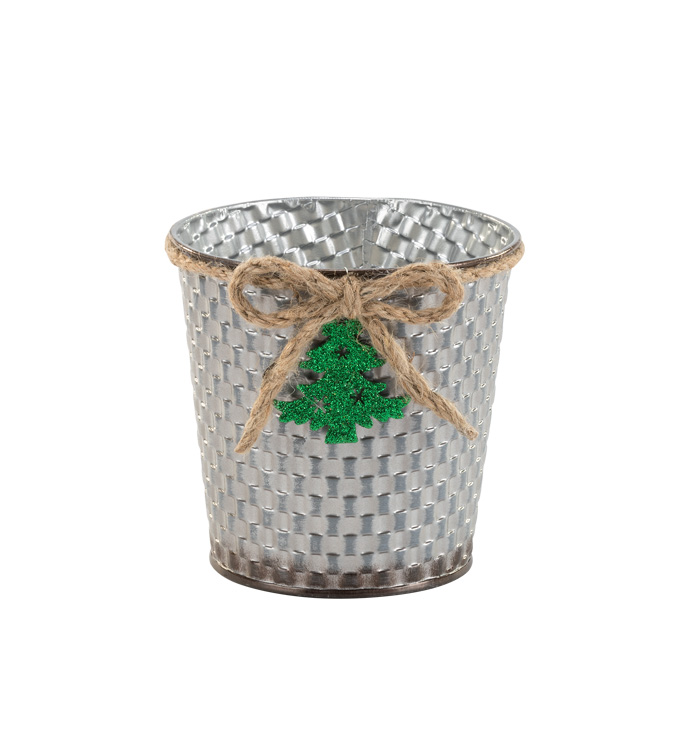 "5"" Silver Pot Cover with Tree"