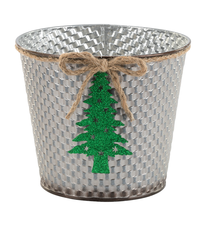 "6.5"" Silver Pot Cover with Tree"