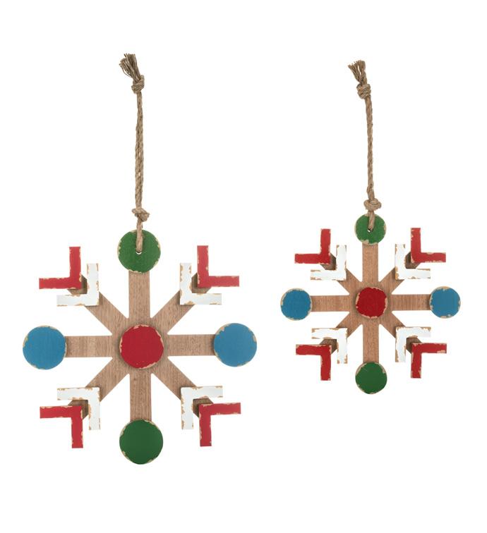 Snowflake Ornaments, Set of 2