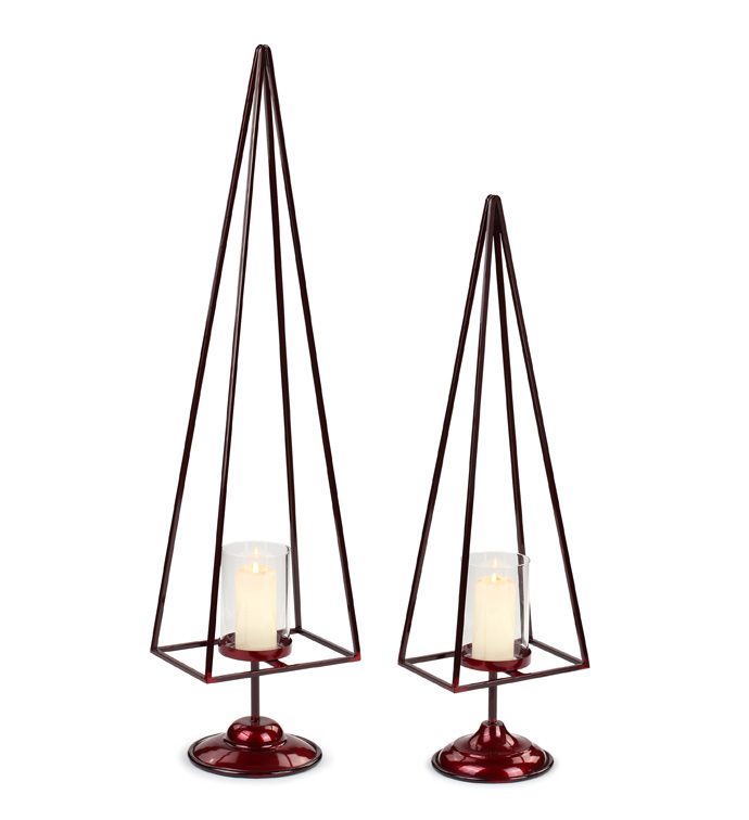 Red Tree Candle Holder, Set of 2