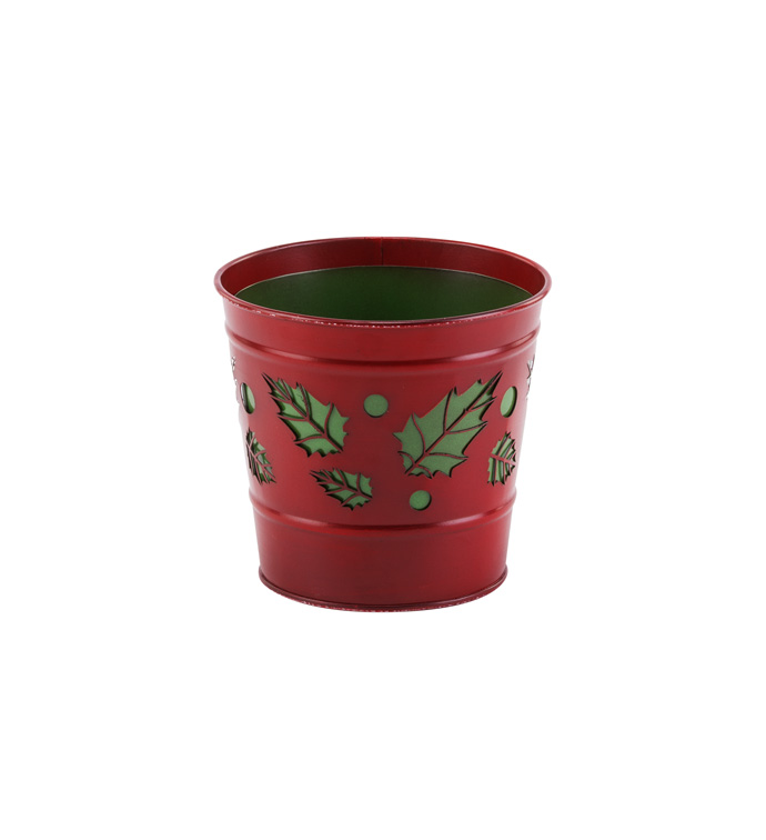 "5""Holly Cut Out Pot Cover"