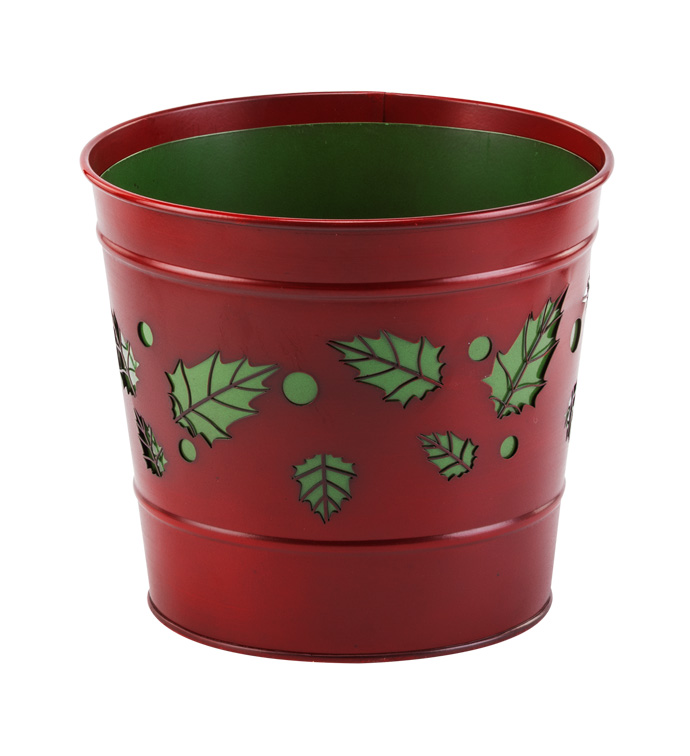 "6.5"" Holly Cut Out Pot Cover"