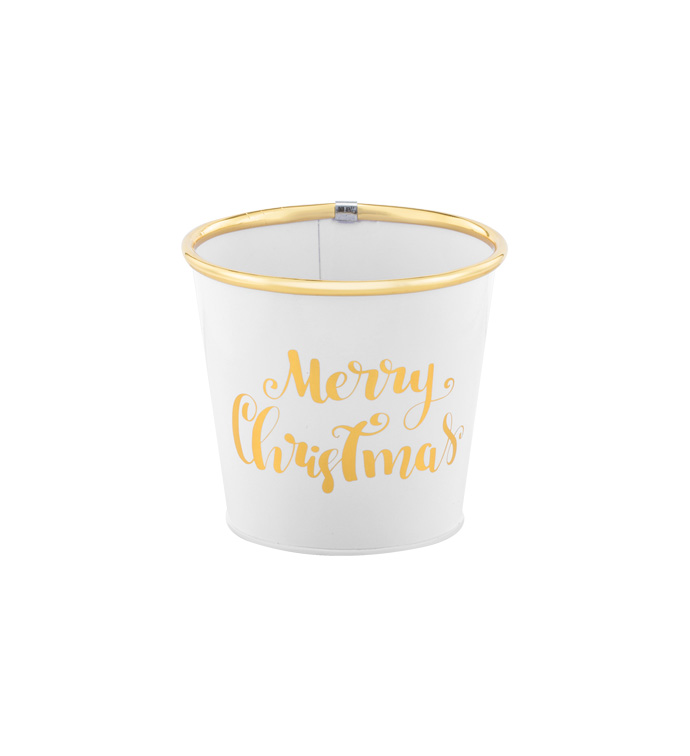 "5"" White Christmas Pot Cover"
